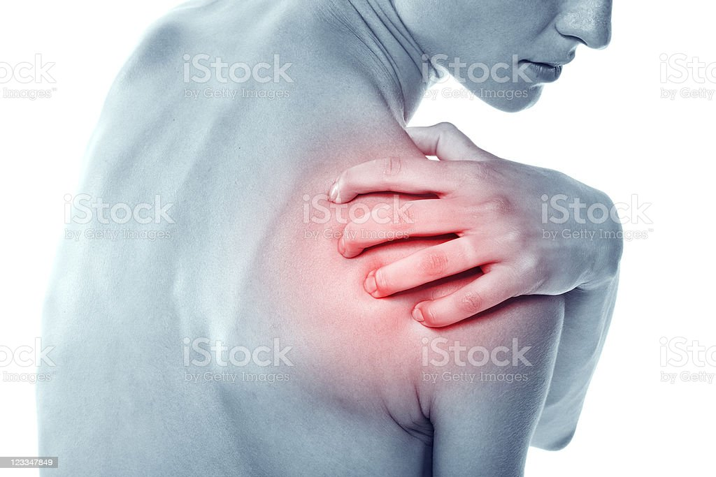 Acute pain in a shoulder at the young women. stock photo