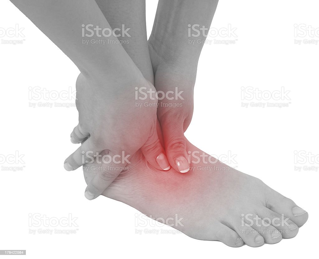 Acute pain in a woman ankle royalty-free stock photo