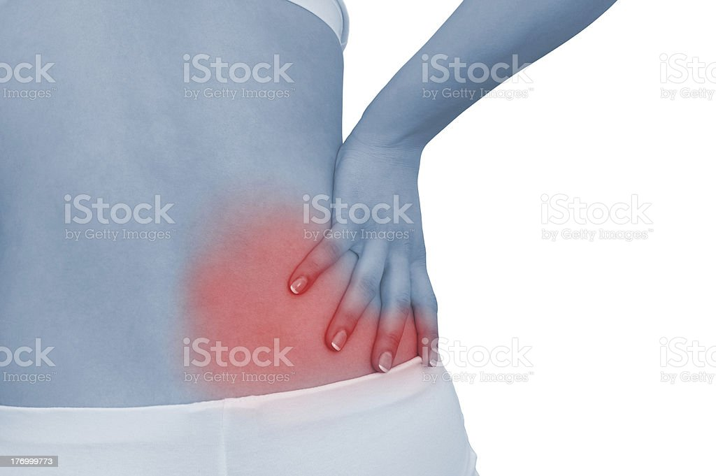Acute pain in a woman back royalty-free stock photo