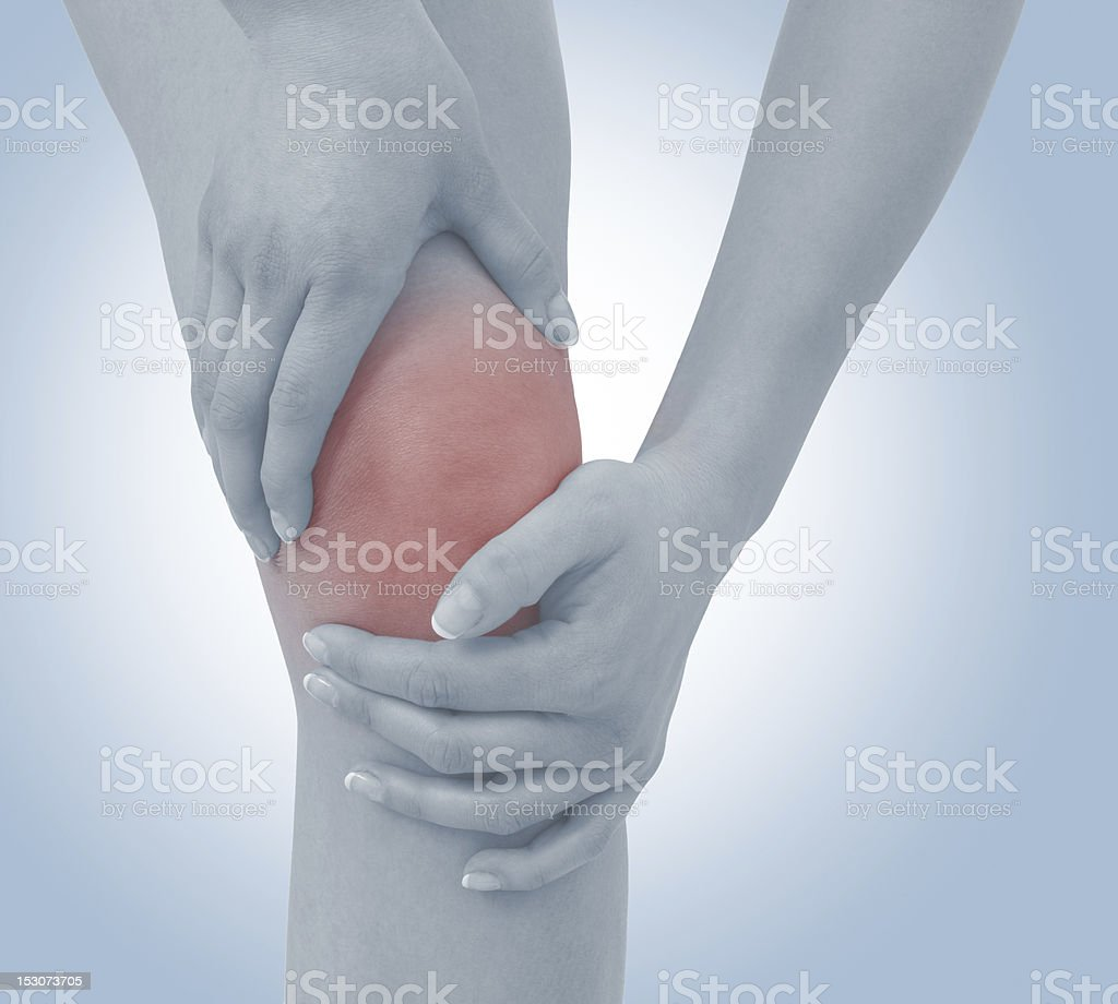 Acute pain in a woman  knee. royalty-free stock photo