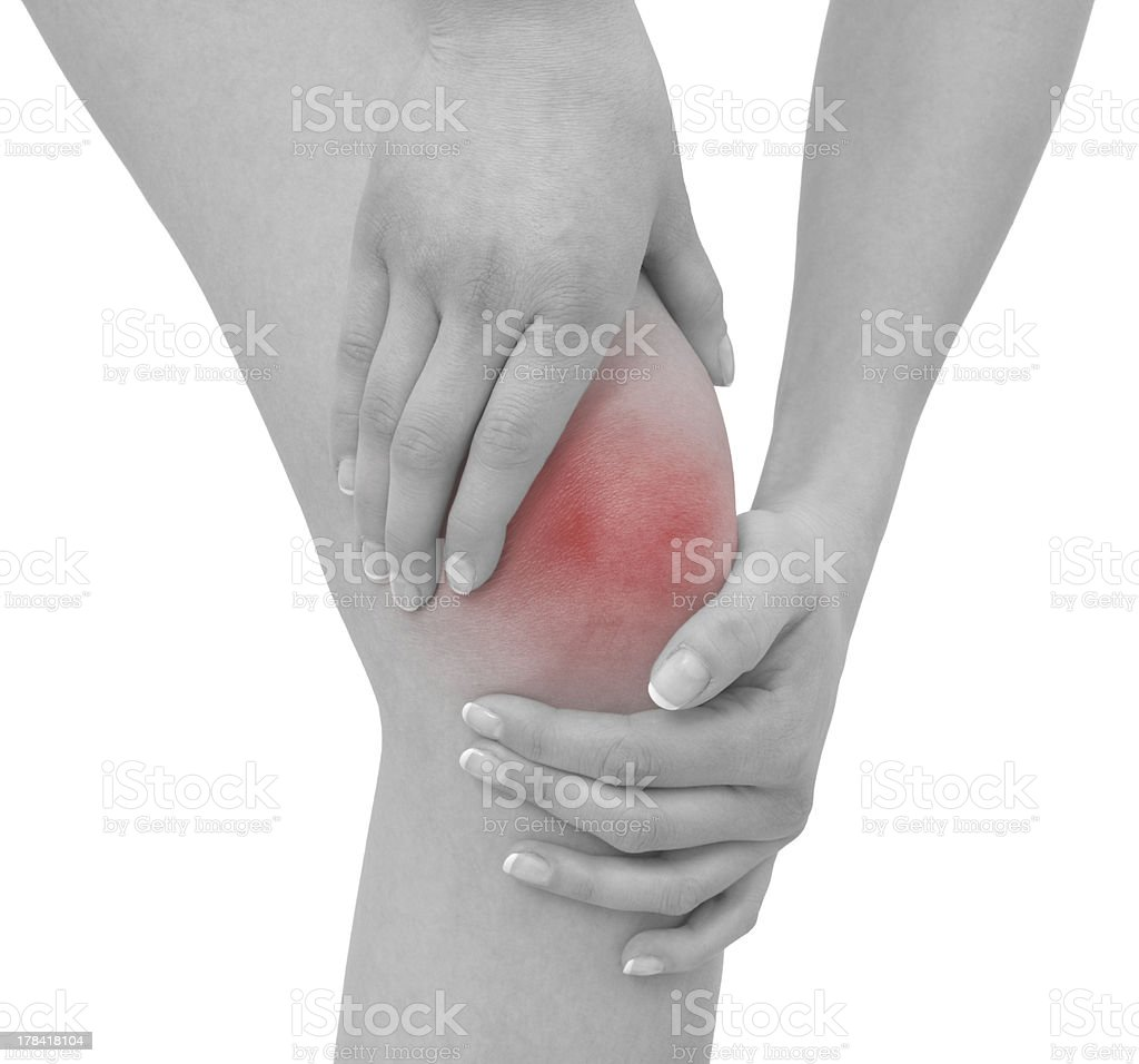 Acute pain in a woman knee royalty-free stock photo