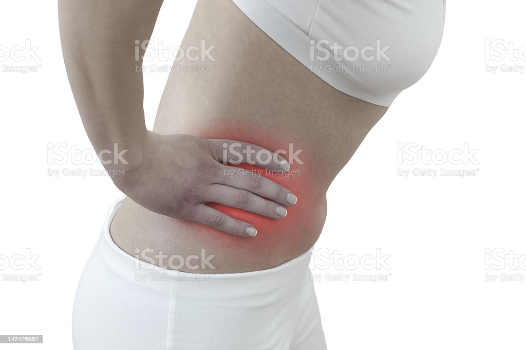 Acute pain in a woman section of kidney royalty-free stock photo
