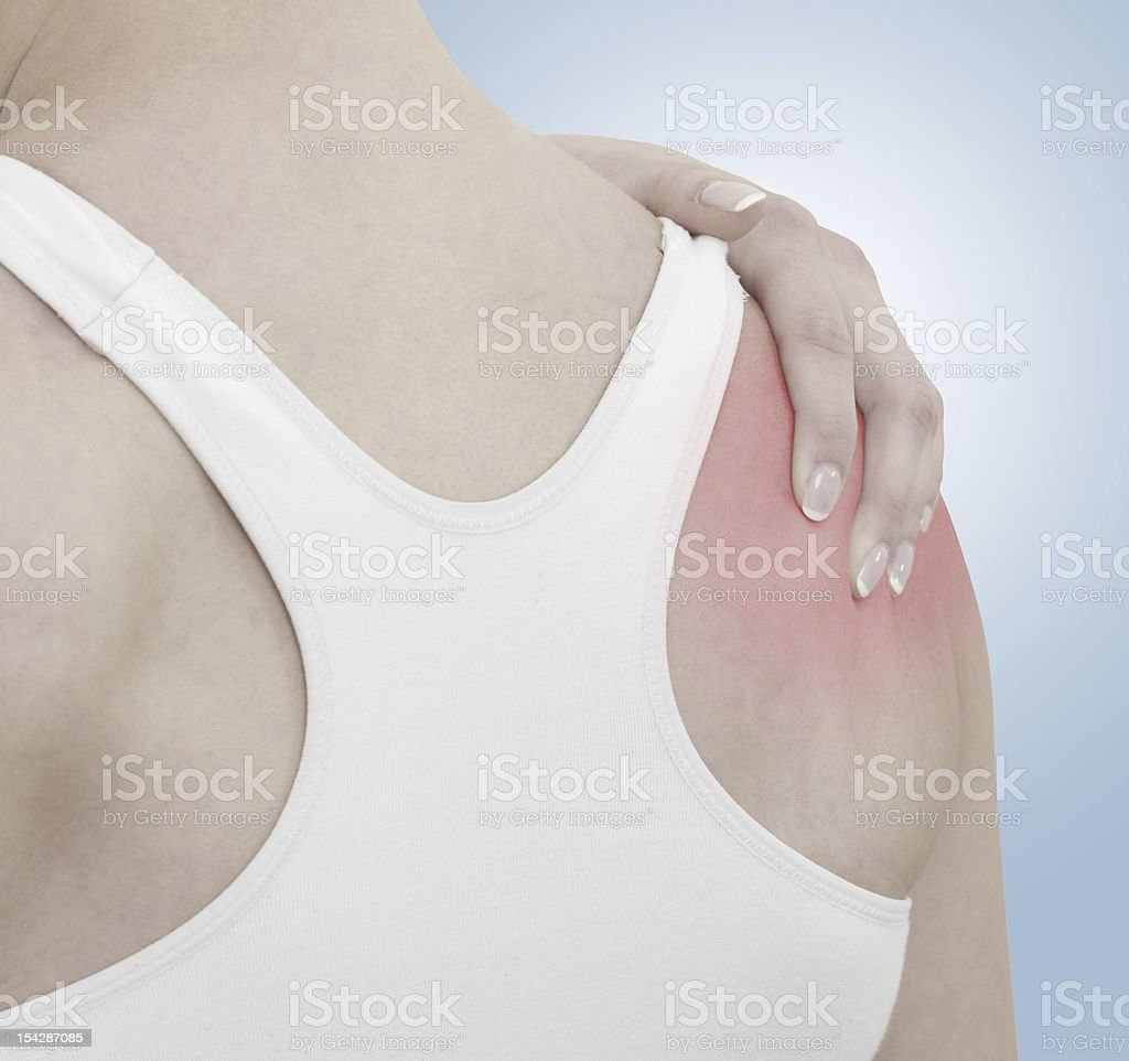Acute pain in a woman shoulder. royalty-free stock photo
