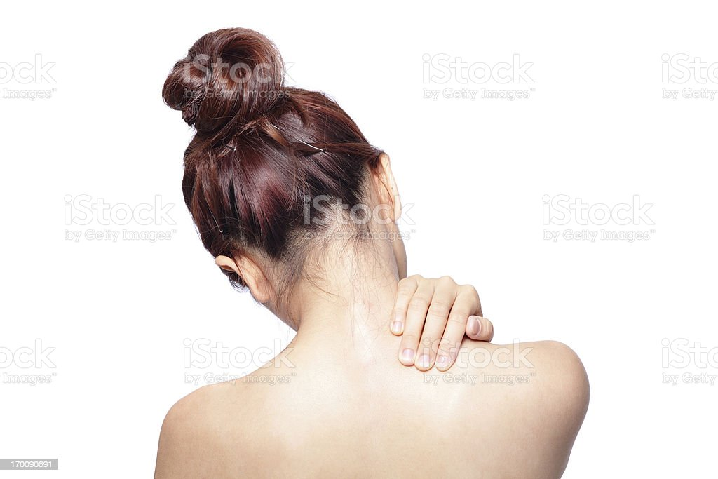 Acute pain in a woman shoulder stock photo