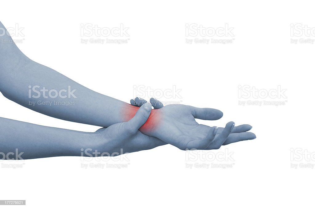 Acute pain in a woman wrist royalty-free stock photo