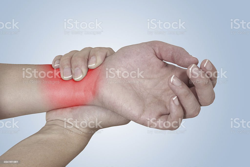 Acute pain in a woman Wrist. royalty-free stock photo