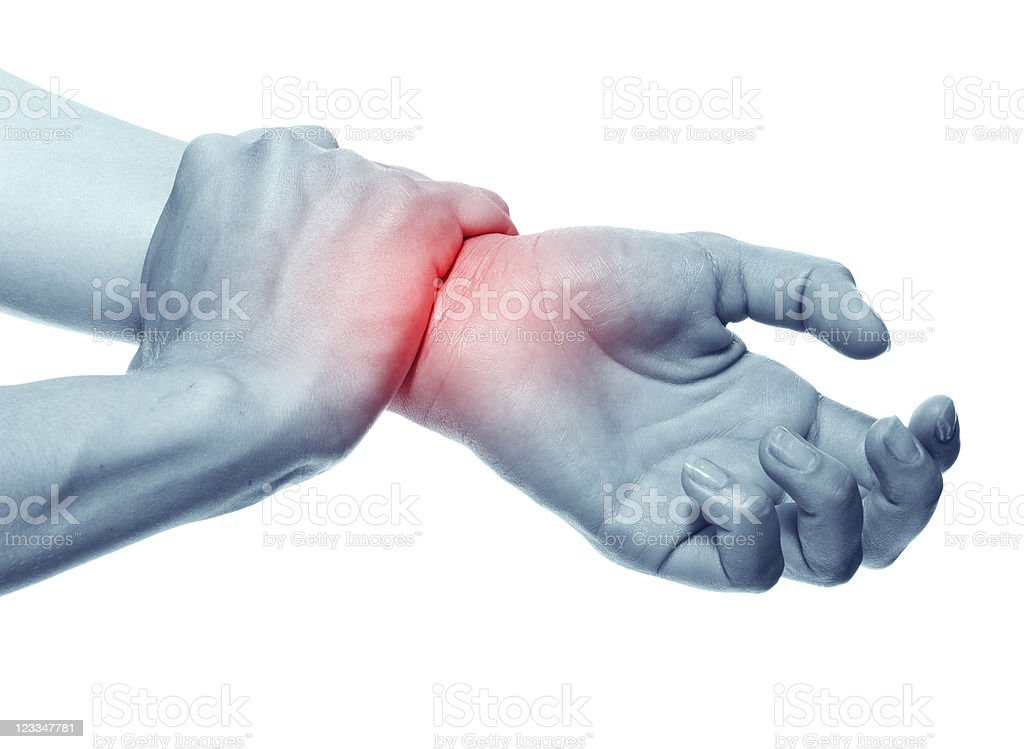 Acute pain in a women wrist. stock photo