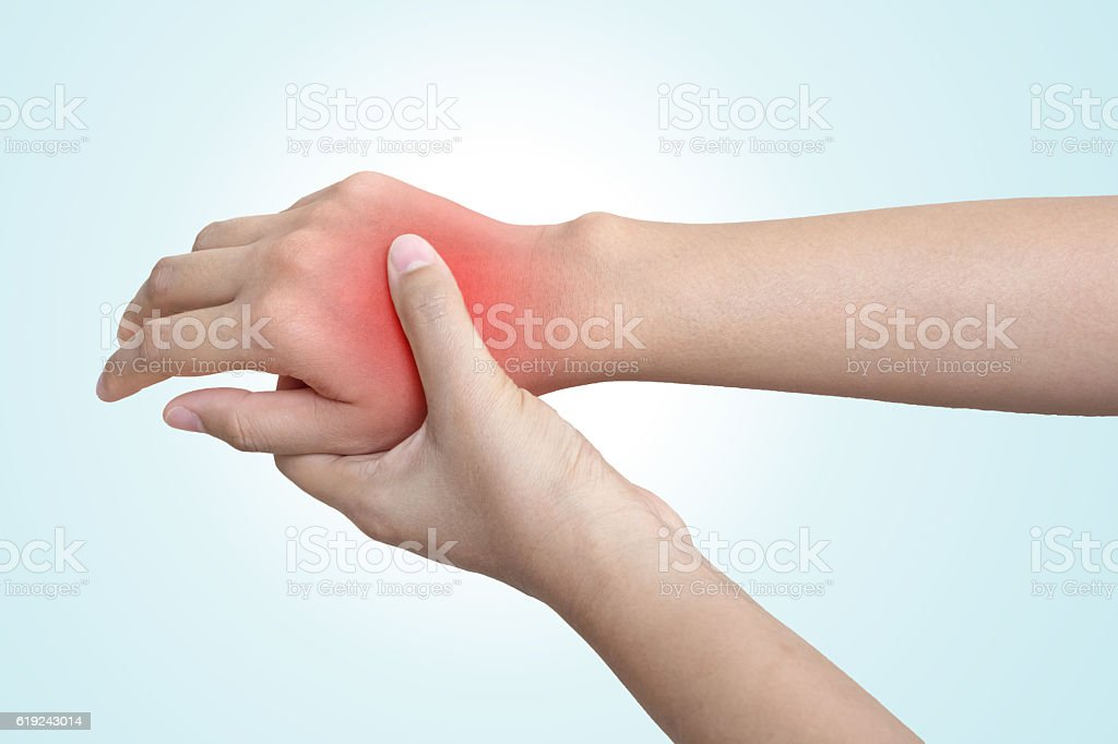 Acute pain in hand of a woman or man stock photo