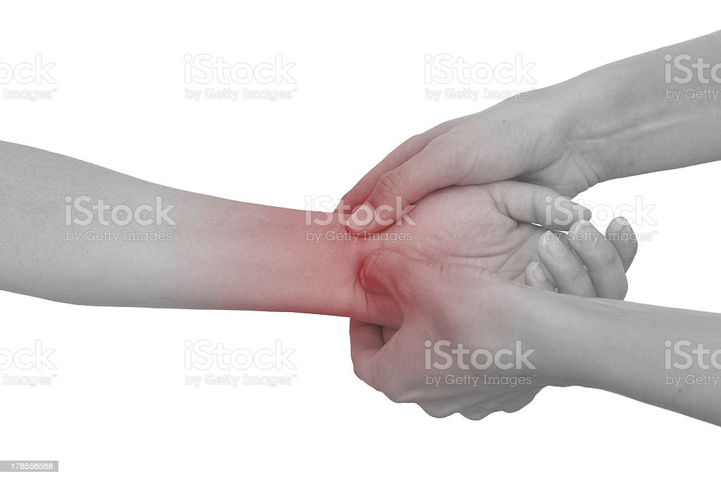 Acute pain in woman wrist. royalty-free stock photo