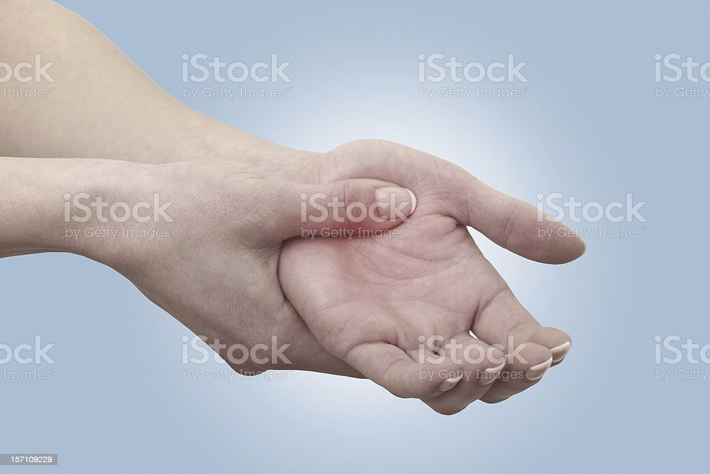 Acute pain that is shown as red in a palm royalty-free stock photo