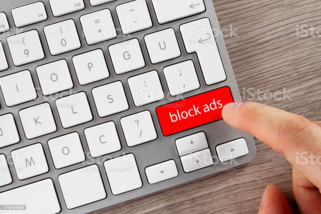 Ad Blocking Key on Computer Keyboard stock photo