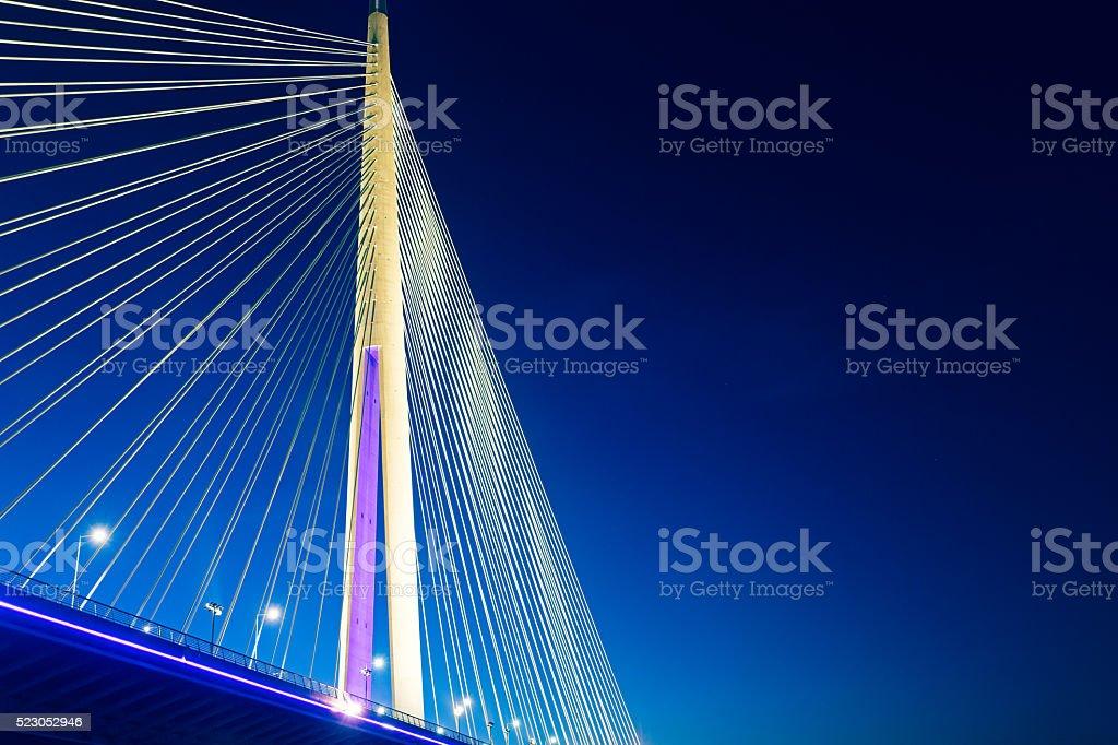 Ada Bridge at night, Belgrade, Serbia stock photo