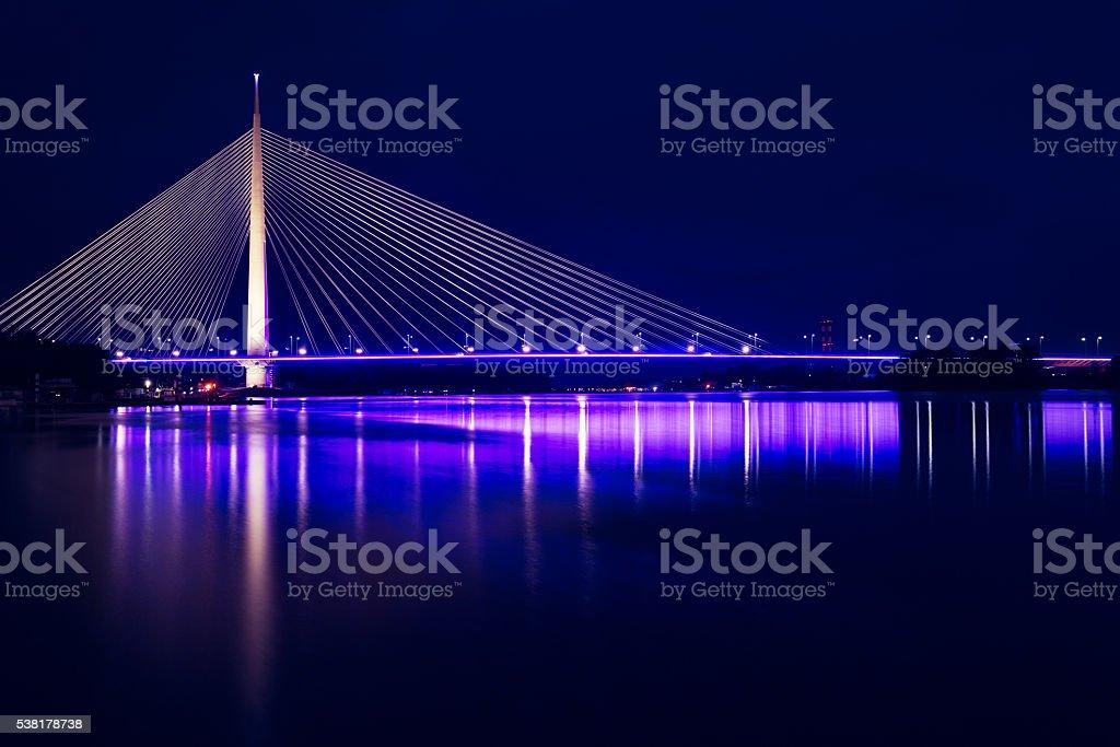 Ada Bridge, Belgrade, Serbia stock photo
