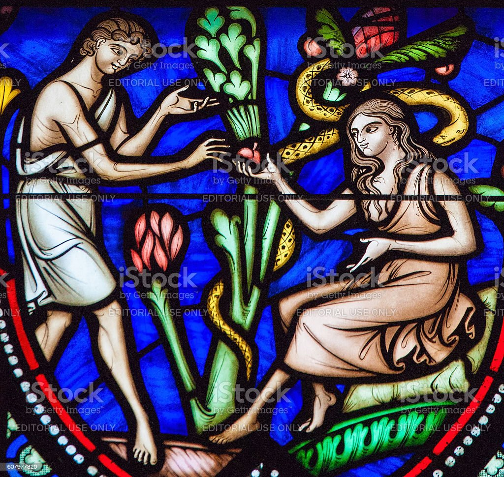 Adam and Eve and the Original Sin stock photo