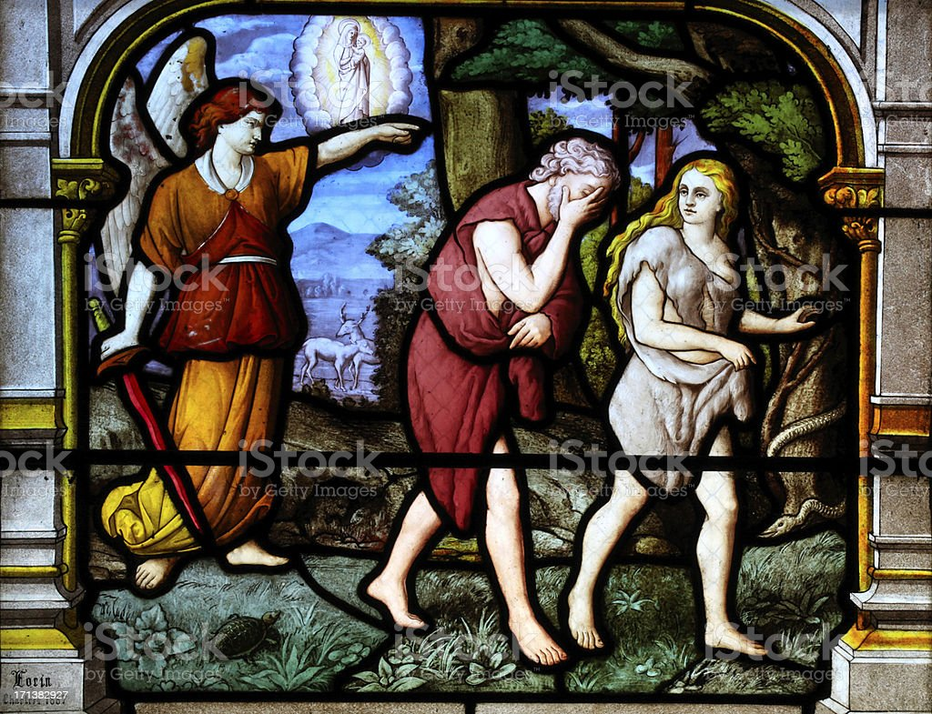 Adam and Eve banished from the Garden of Eden stock photo