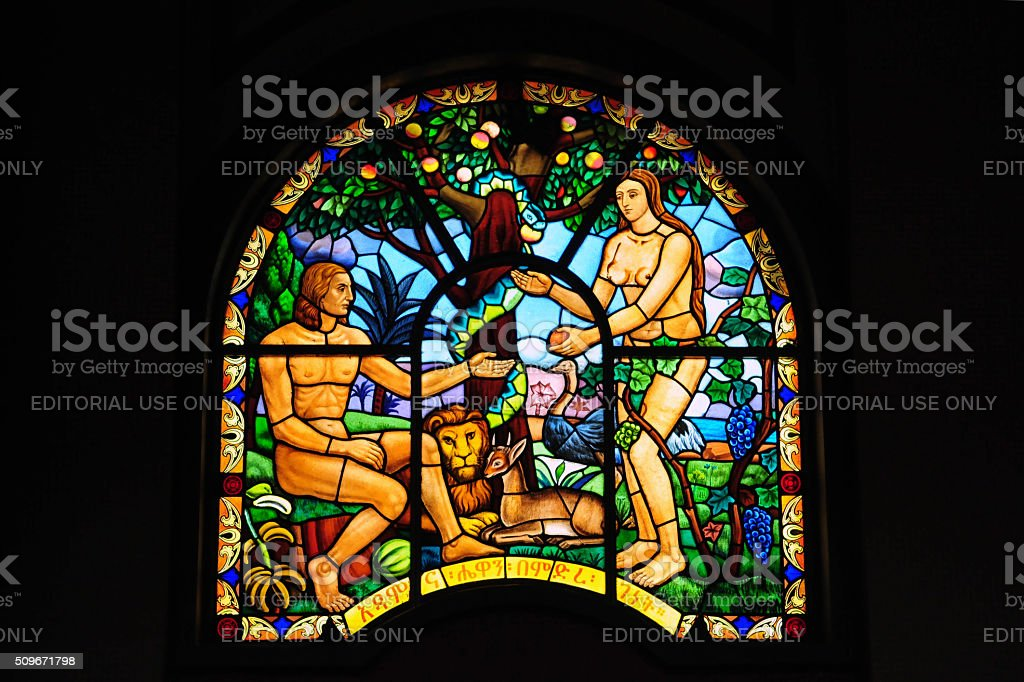 Adam and Eve in stained glass - Ethiopia stock photo