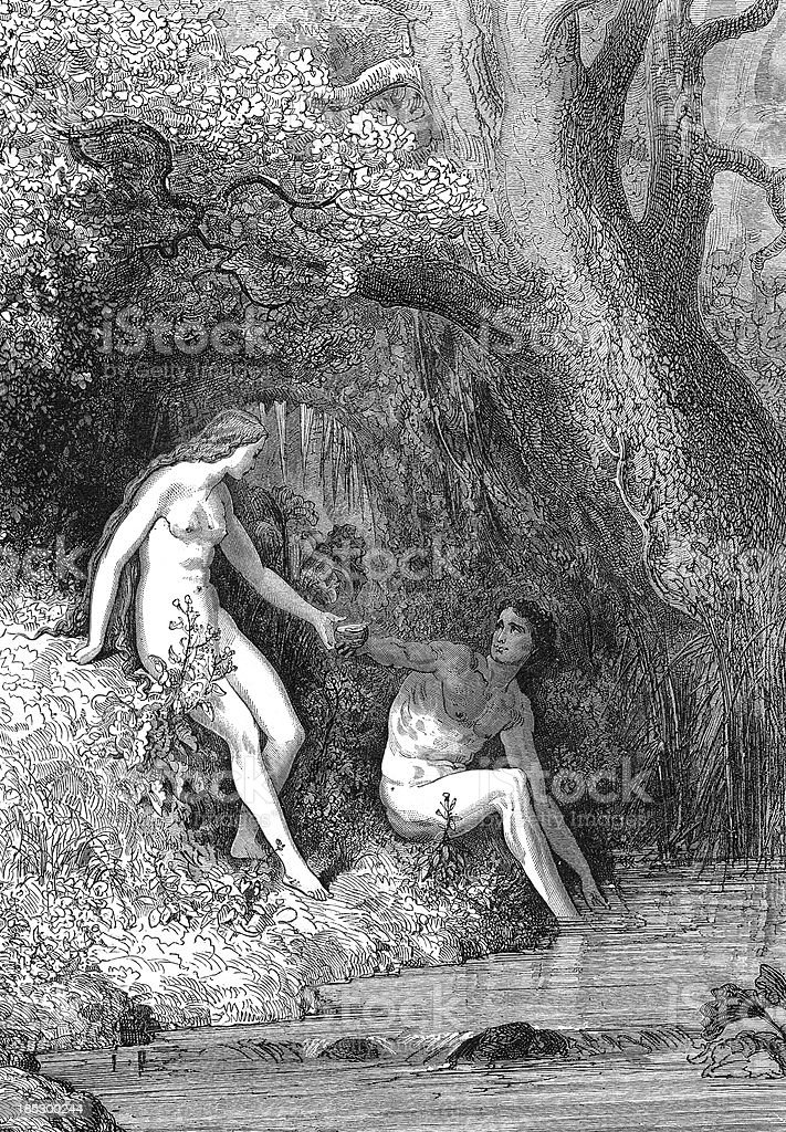 Adam and Eve royalty-free stock vector art