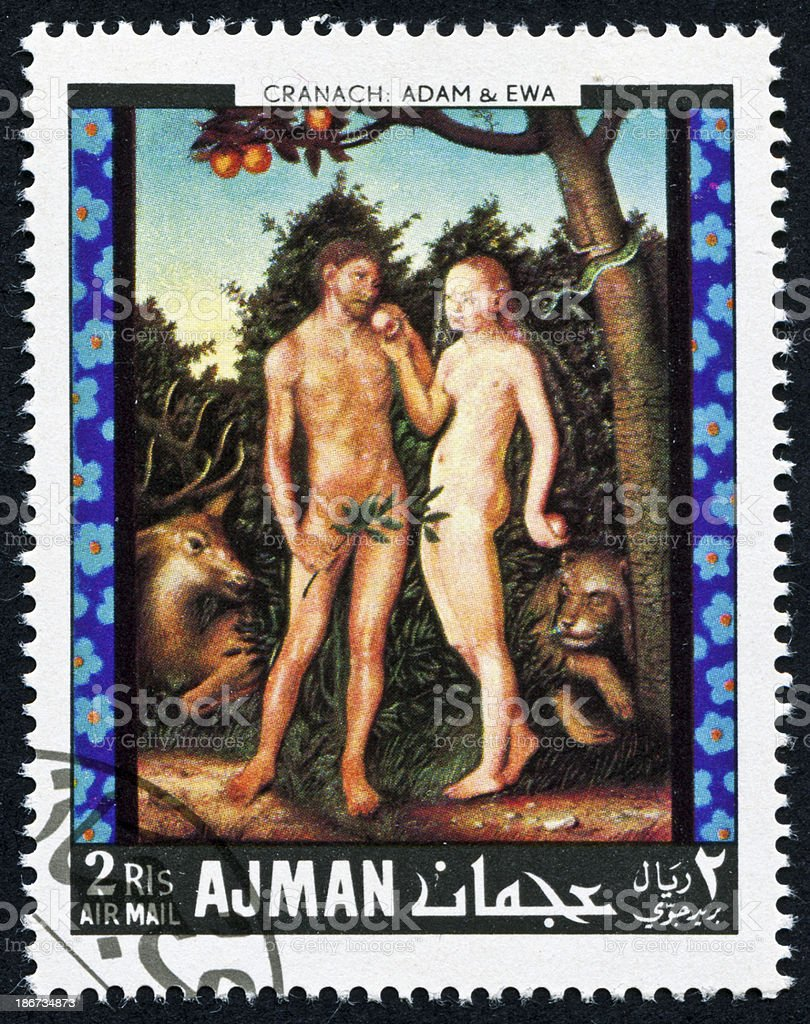 Adam And Eve Stamp stock photo