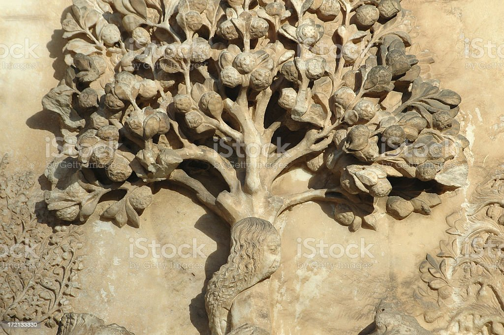 adam and eve tree with snake royalty-free stock photo