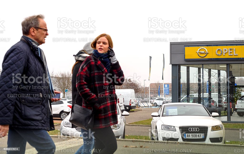 Adam Opel Ag showroom with cars outside car dealership stock photo