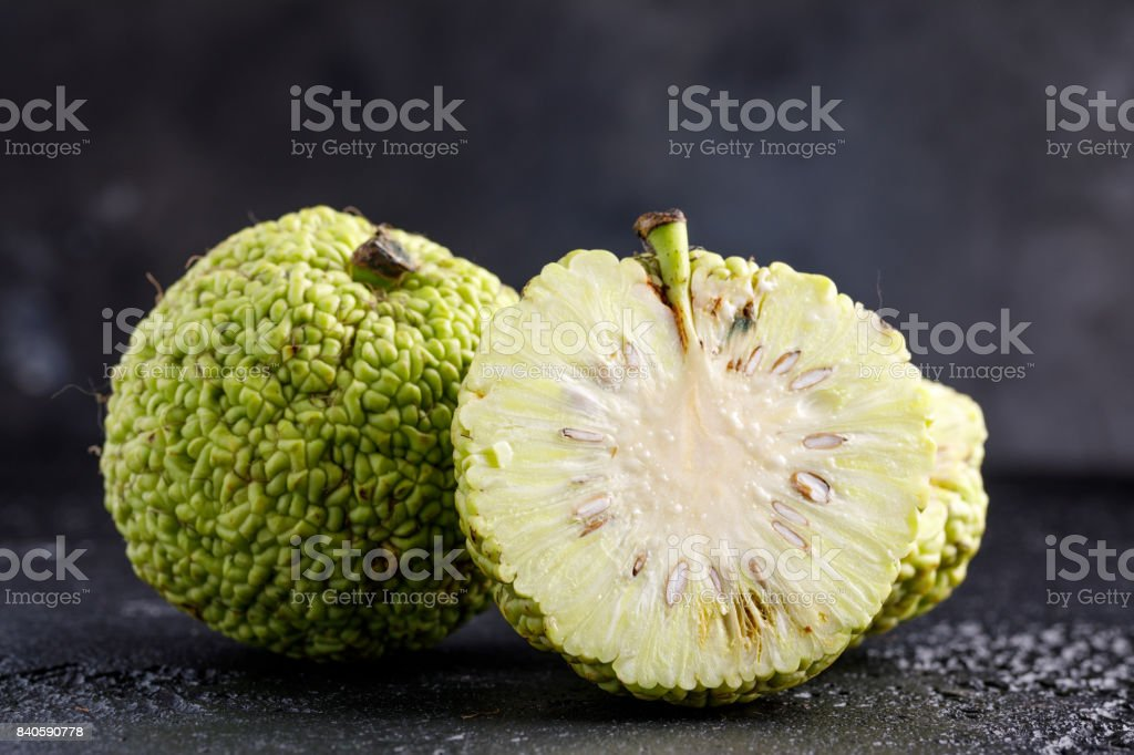 Adam's apple on a black background. stock photo
