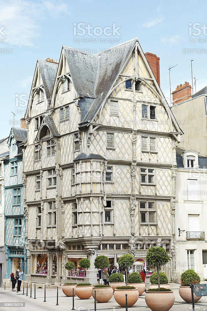 Adam's House on Place Sainte-Croix, Angers, France stock photo