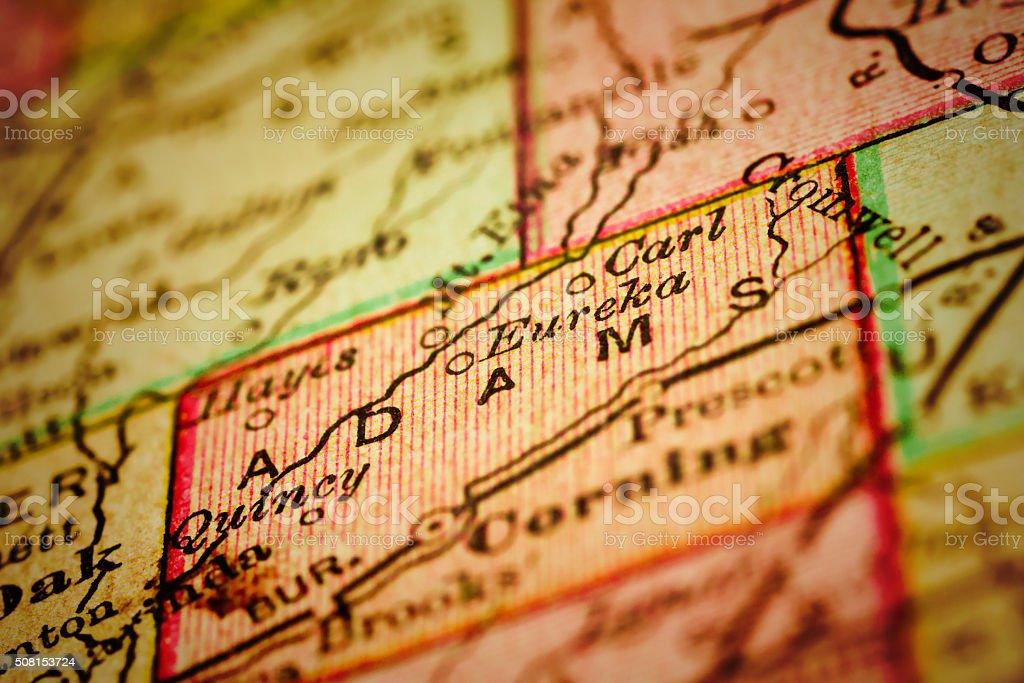 Adams | Iowa County maps stock photo
