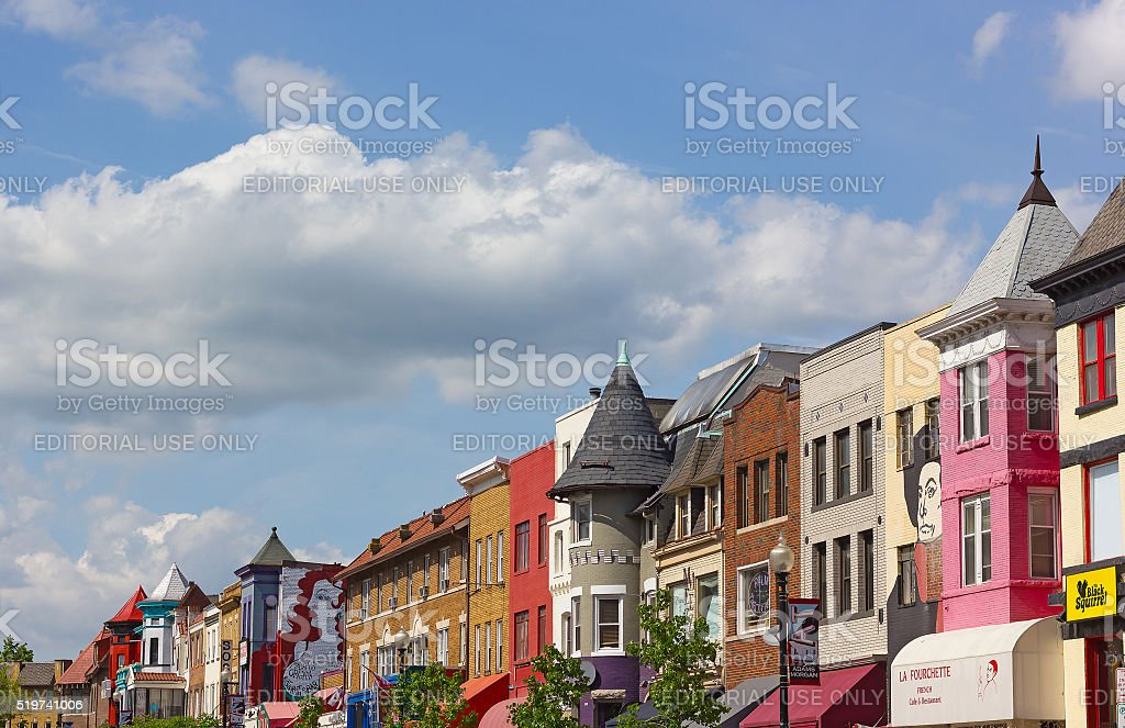 Adams Morgan neighborhood in Washington, DC. stock photo