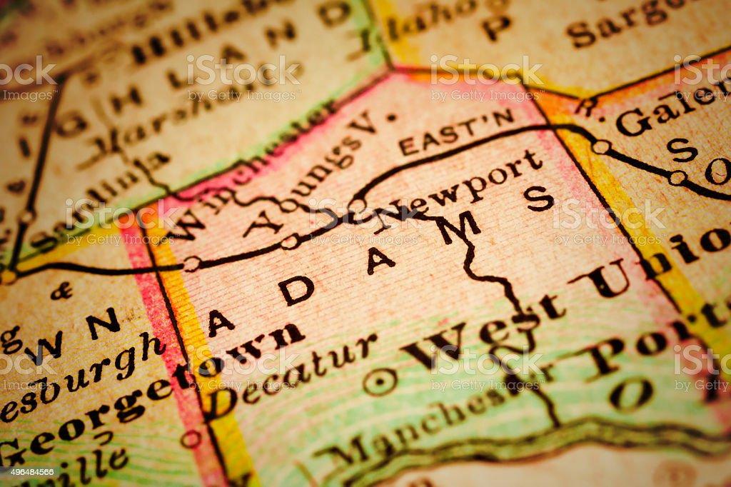 Adams | Ohio County Maps stock photo