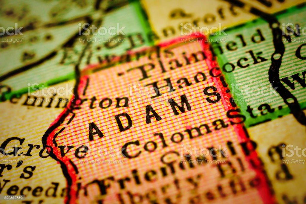 Adams | Wisconsin County maps stock photo
