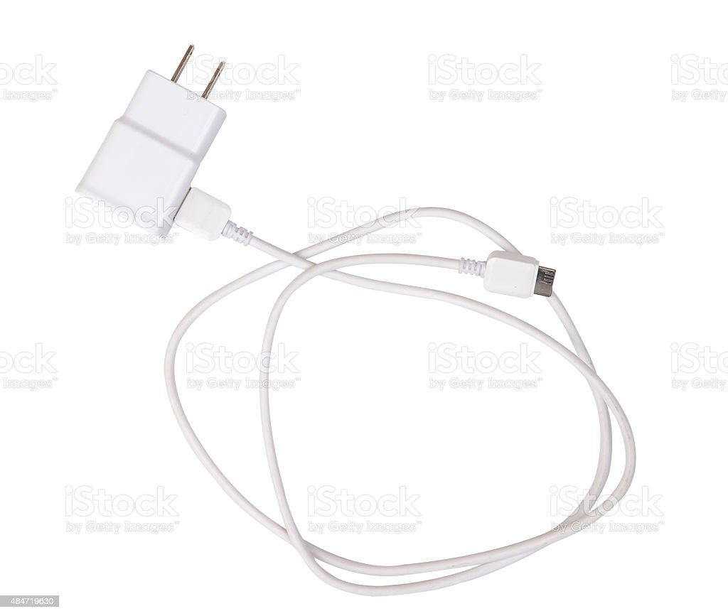 Adapter Charger with usb cable isolate on white (clipping path) stock photo