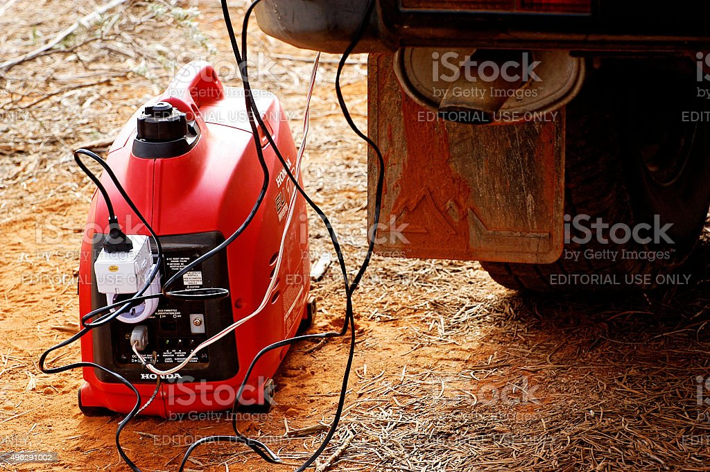 adapter for European outlets on an Australian bush generator stock photo