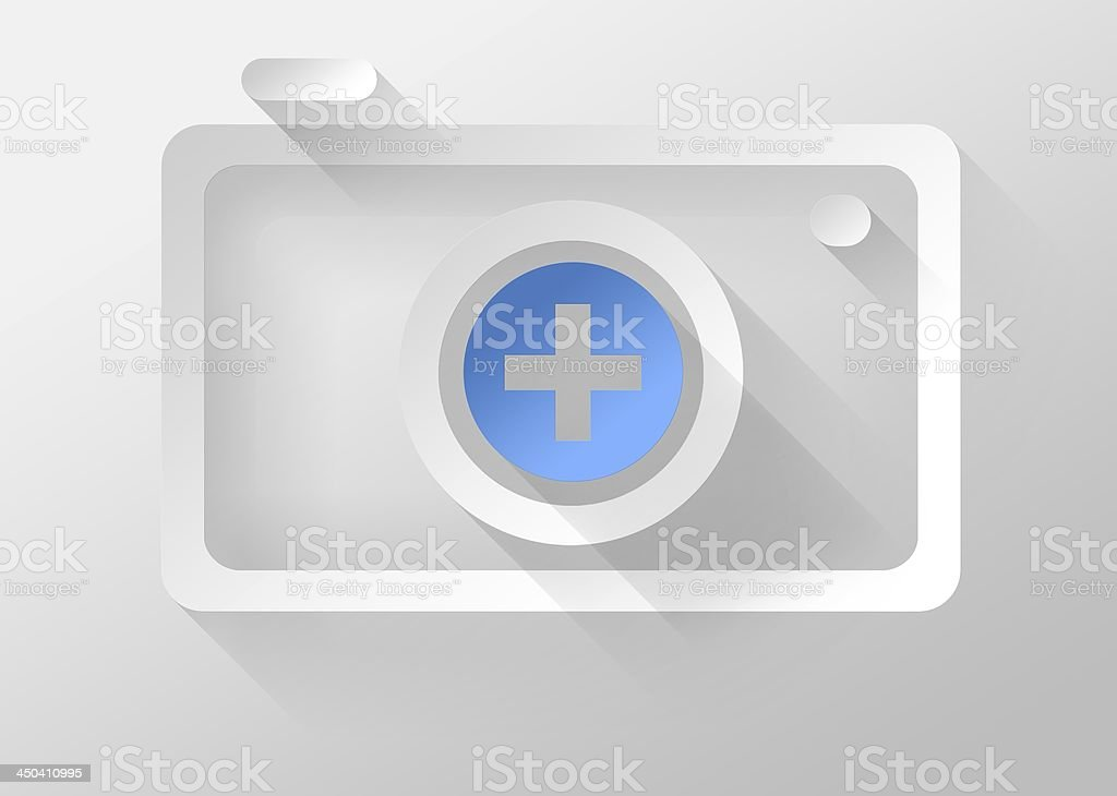 Add picture in photo Camera icon 3d illustration flat design royalty-free stock photo