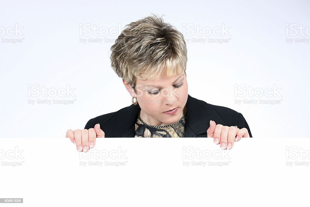 Add Text Woman Holding White Sign Smiling royalty-free stock photo