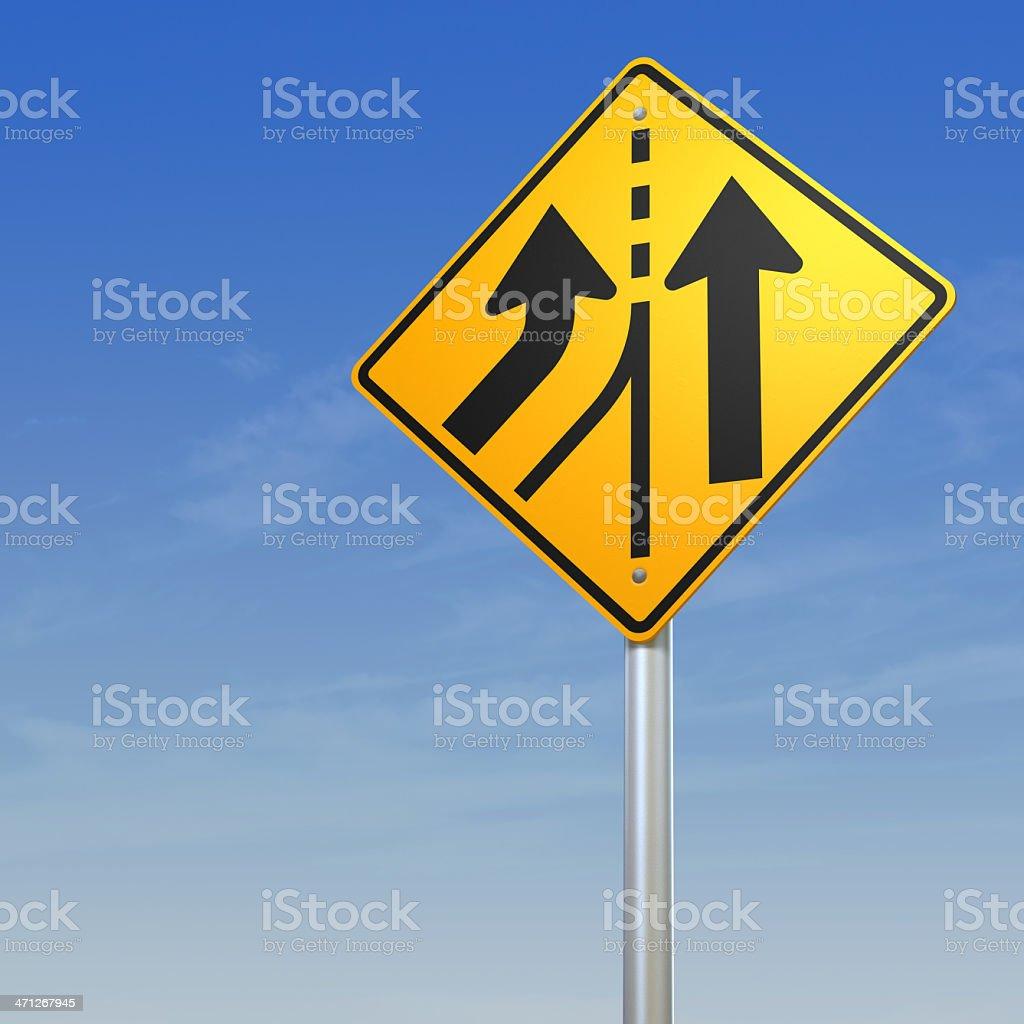 Added Lane Road Warning Sign stock photo