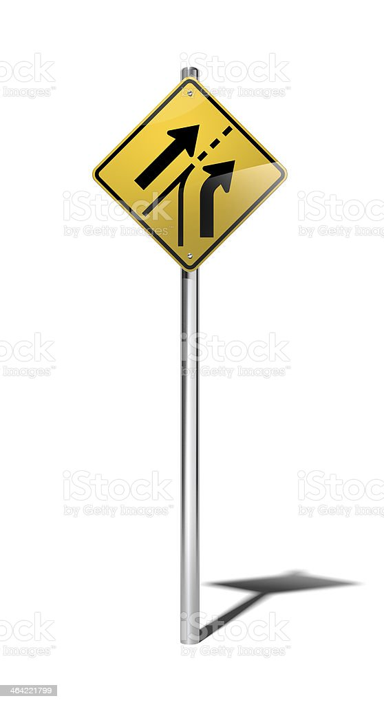 Added lane warning sign (USA) with clipping path stock photo