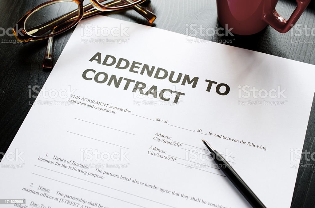 addendum to contract royalty-free stock photo