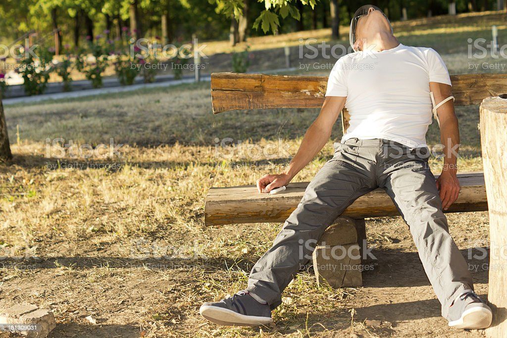 Addict man experiencing side effects of drug use royalty-free stock photo