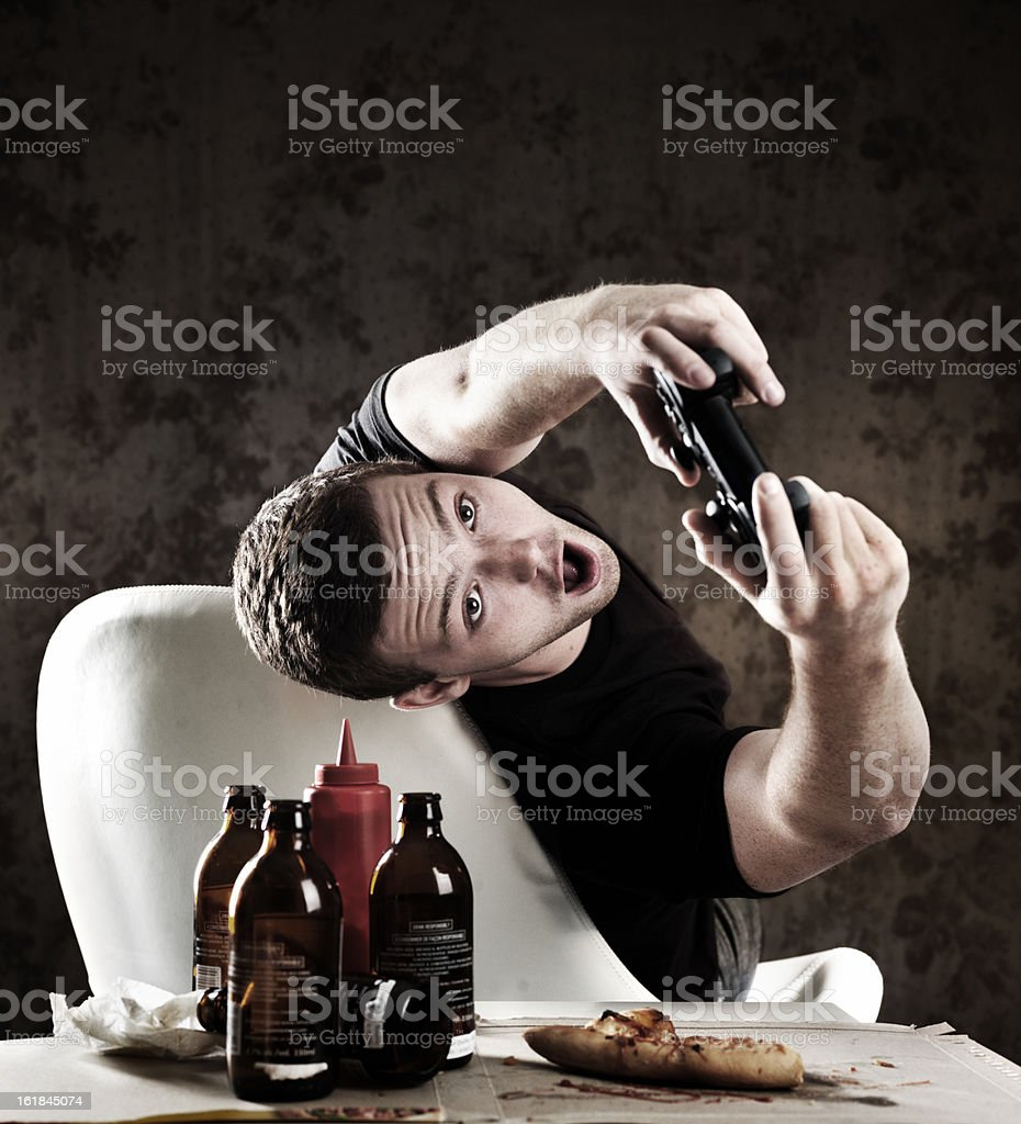 Addicted gamer royalty-free stock photo