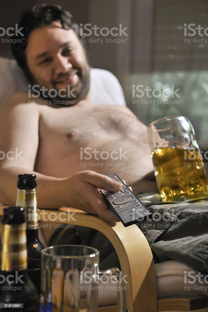 TV addicted man stock photo