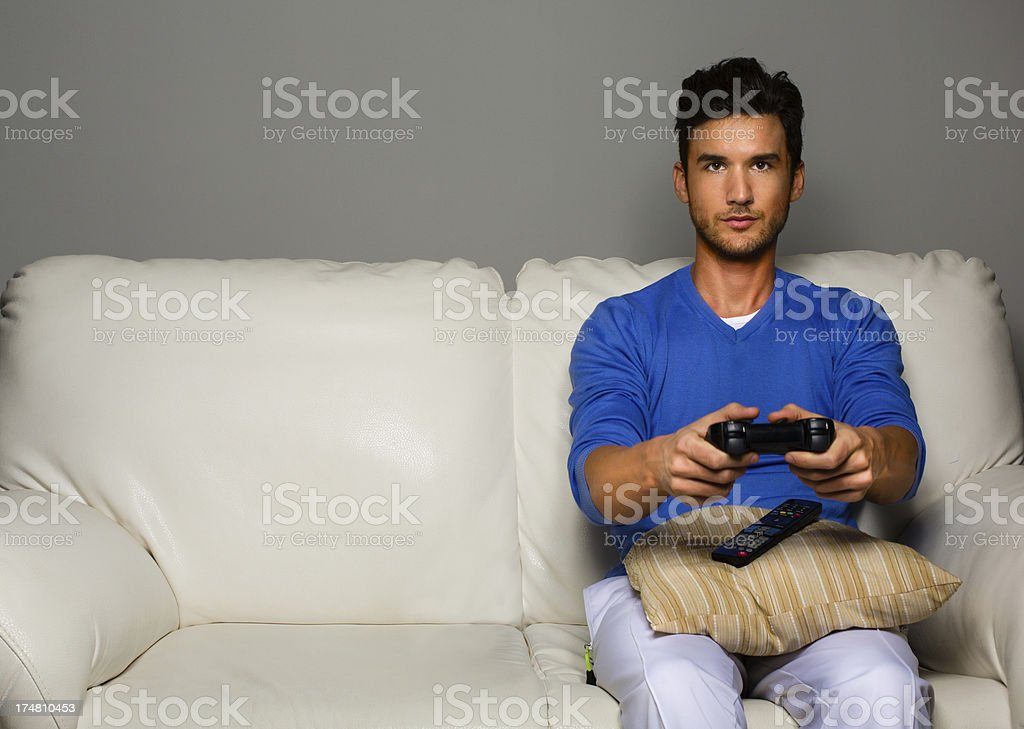 Addicted to video games royalty-free stock photo