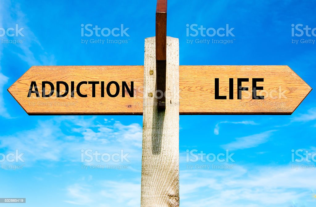 Addiction and Life signs, Choice conceptual image stock photo