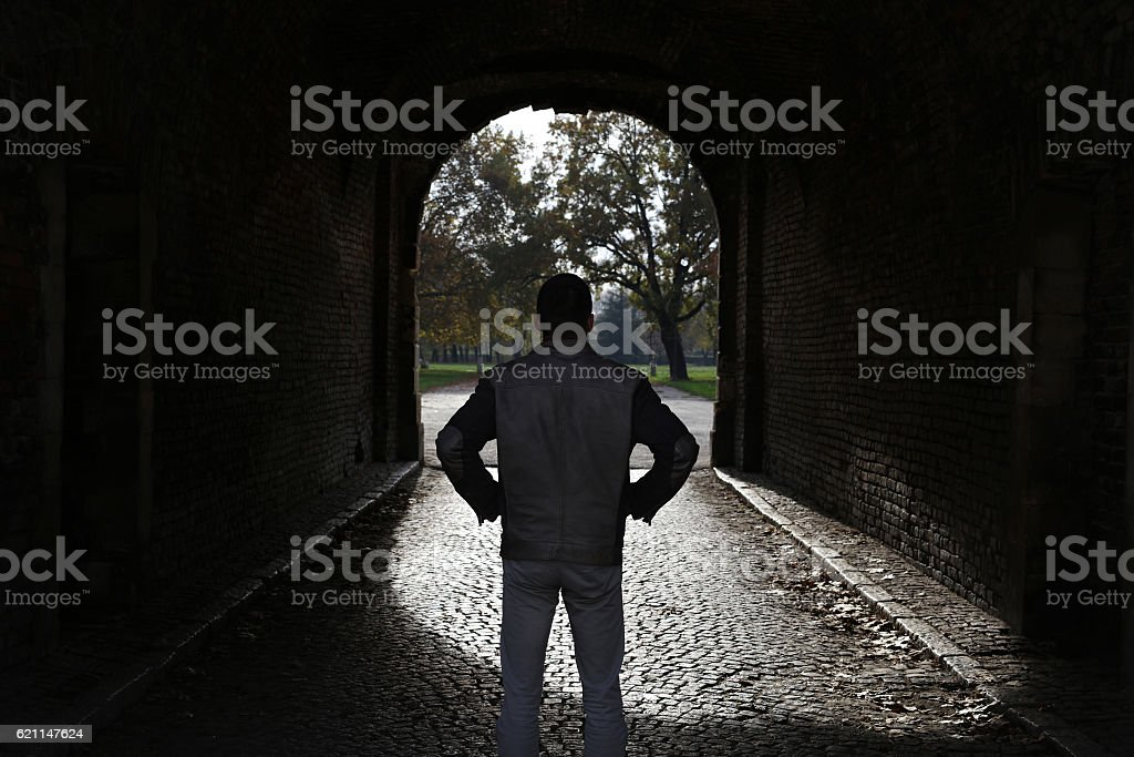 Addiction way out, light at the end of the tunnel stock photo