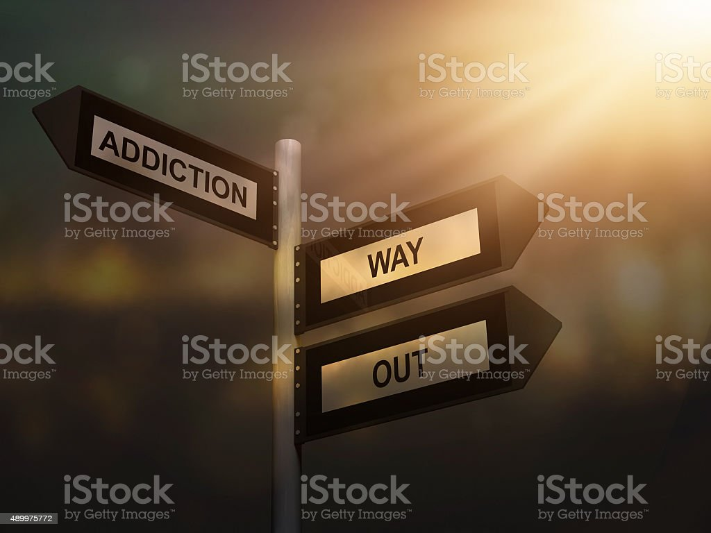 Addiction way out problem sign. stock photo