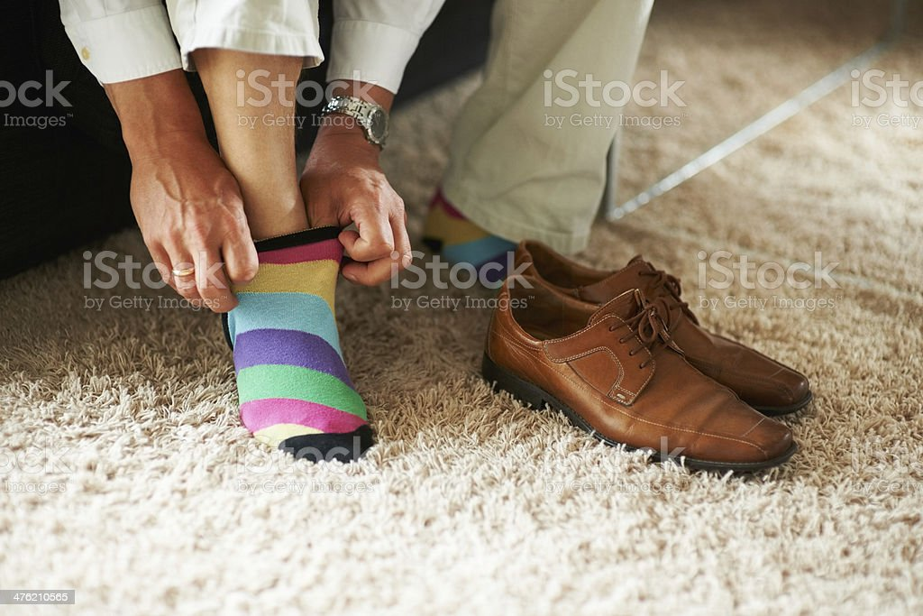 Adding a little bit of fun to the outfit stock photo