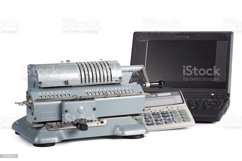 Adding machine, modern calculator and notebook stock photo