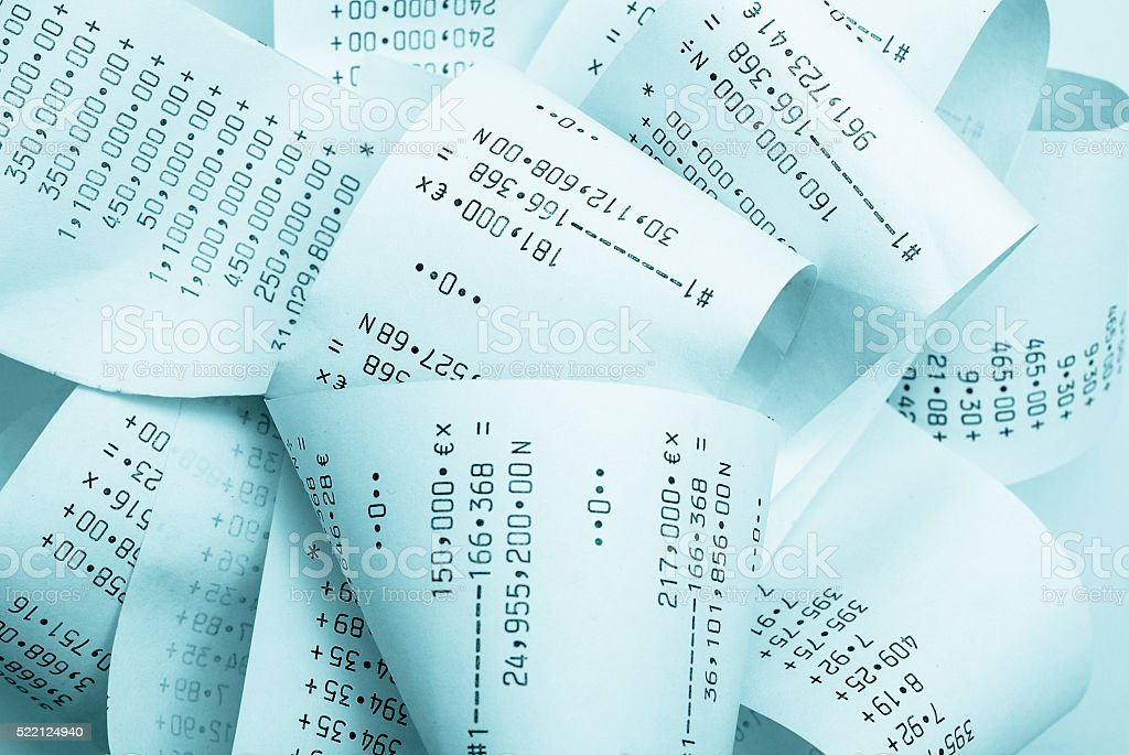 Adding machine printouts stock photo