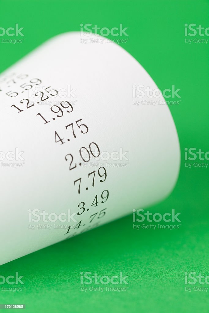 Adding machine tape royalty-free stock photo