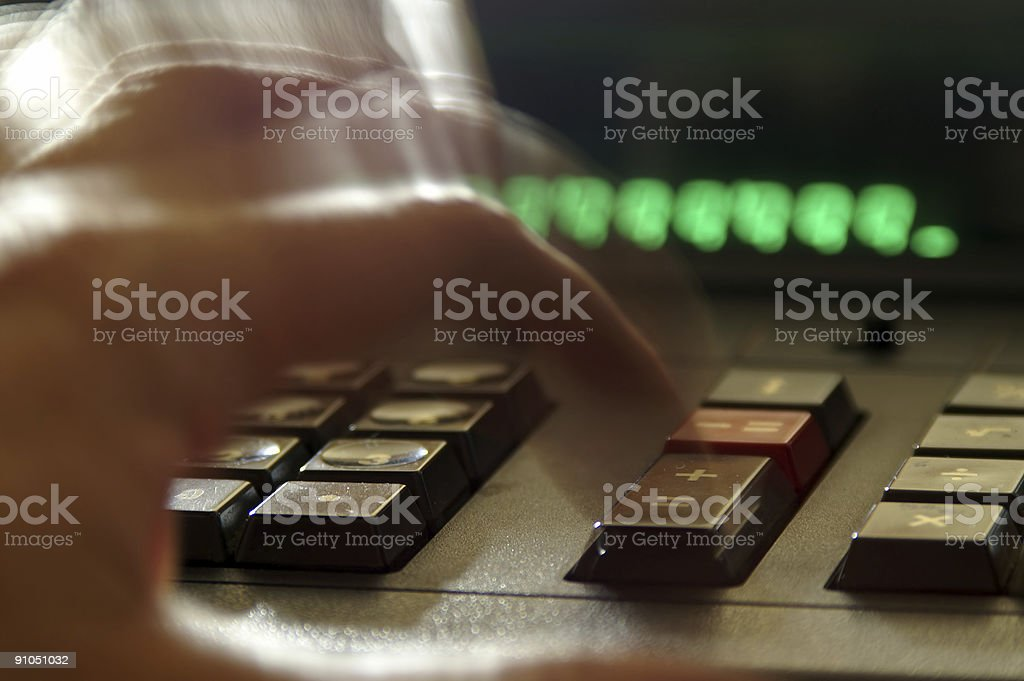 Adding Numbers on Calculator 2 royalty-free stock photo