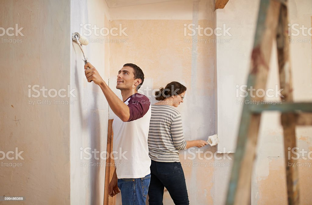 Adding personality to their home with a fresh paint job stock photo